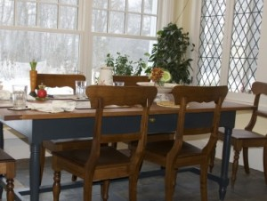 Semi-formal harvest table with Regency chairs